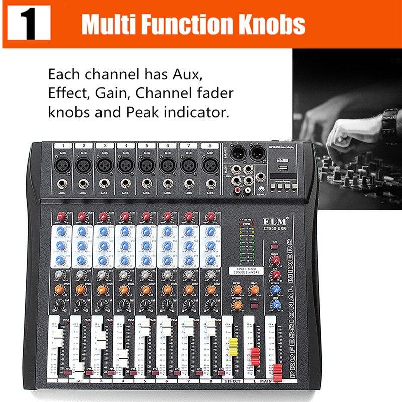 CT80S 8 canaux Studio en direct 48V Console de mixage Audio fantôme pour DJ KTV karaoké