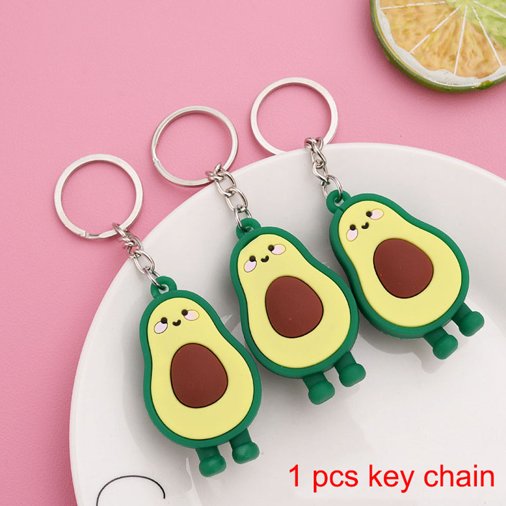 3D Soft Rubber Avocado Keychain Couples Key Chain Ring For Women Bag Girl Phone Car Keyring Lovers Jewelry Gifts