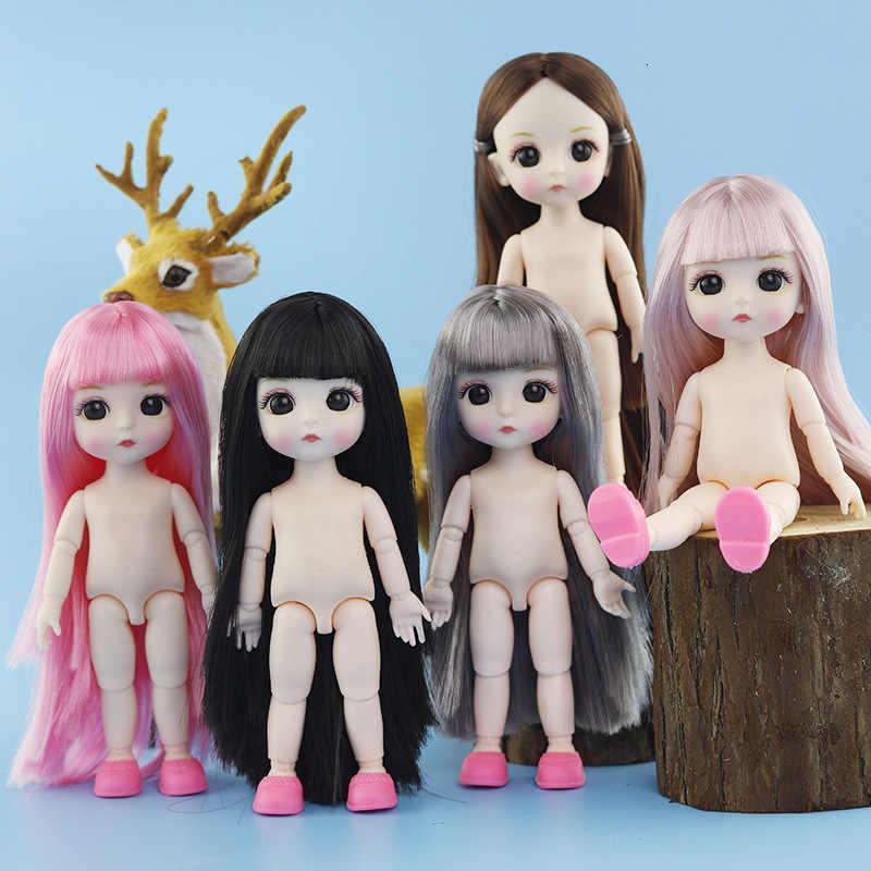 Gerçekçi 13 hareketli eklemli oyuncak bebekler için çocuk için 16cm 1/12 BJD bebek bebek çıplak çıplak vücut moda bebek noel hediyesi