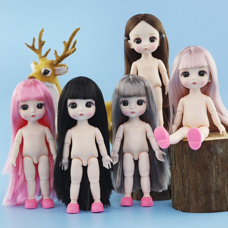 Lifelike 13 Moveable Jointed Doll Toys For Children 16cm 1/12 BJD Baby Doll Naked Nude Body Fashion Dolls For Christmas Gift(China)