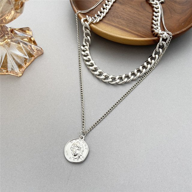 17KM Vintage Multi-layer Coin Chain Choker Necklace For Women Gold Silver Color Fashion Portrait Chunky Chain Necklaces Jewelry 3