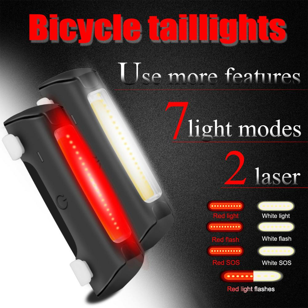 LED USB Rechargeable Bicycle Bike Cycling Front Tail Rear Light Warning Lamp
