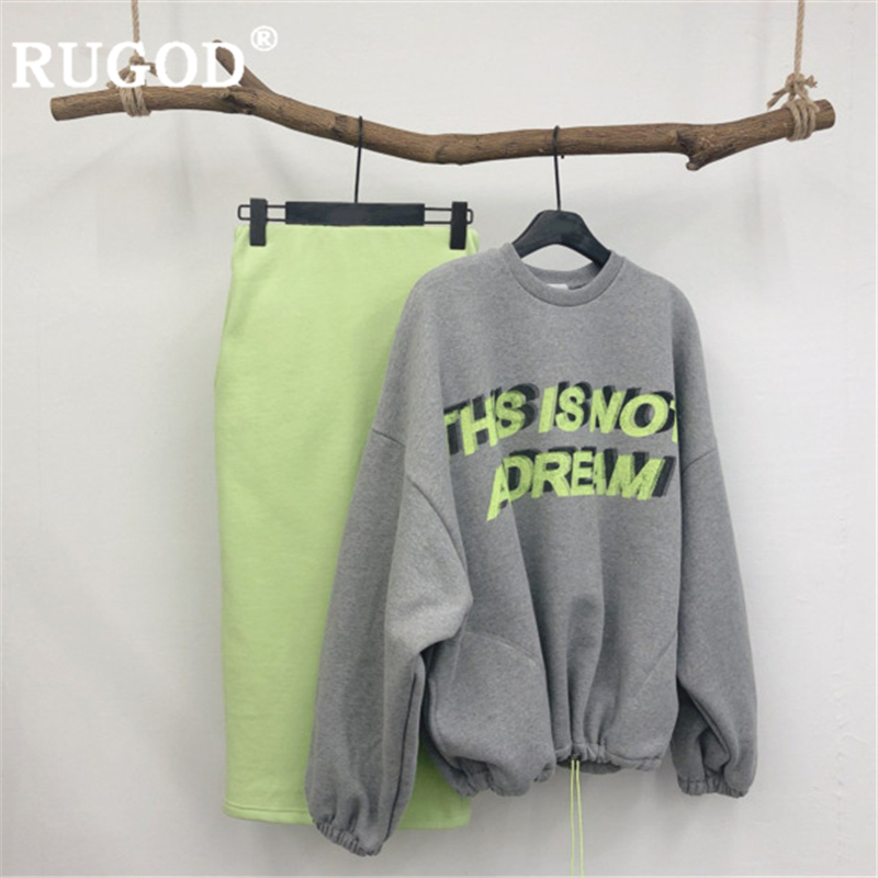 RUGOD Sweater Set Women Spring Suits 2 Piece Set Letter Print O Neck Sweater + Straight Skirt Casual Female Suit Fashion Pull