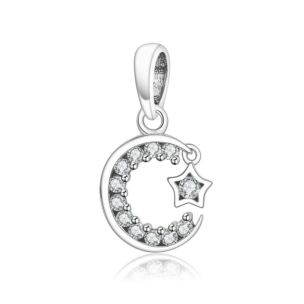 Crescent Moon Houpat Duben Kámen Přívěsek Přívěsek 925 Sterling Silver Bead Charm Fit Originální náramek Pandora Charm