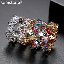 Женское геометрическое кольцо Kemstone, разноцветное медное кольцо золотистого/серебристого цвета с кубическим цирконием, подарок для женщин