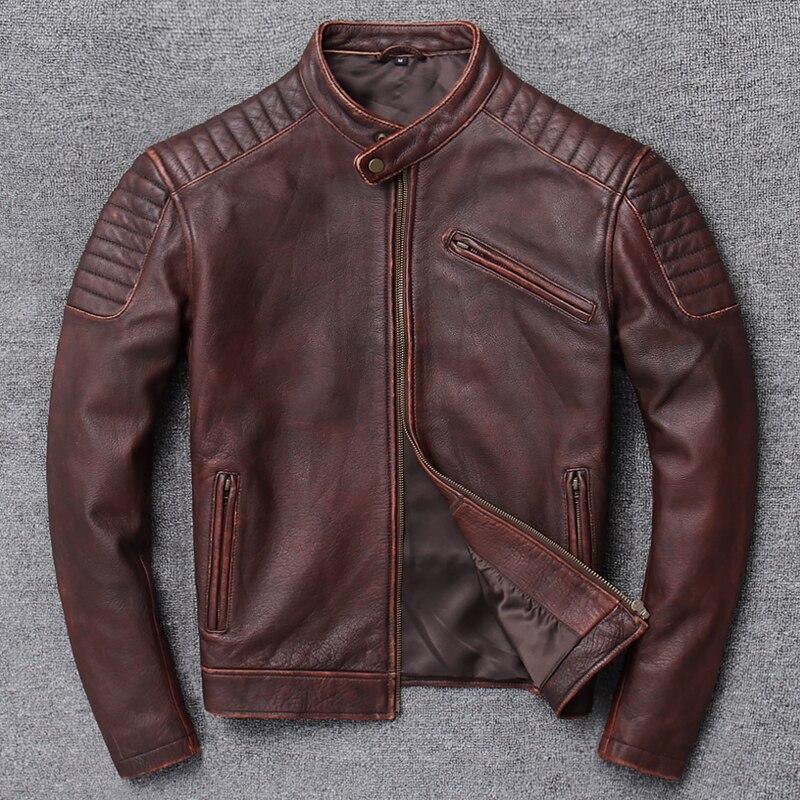 2020 Free Shipping.sales.classic Motor Biker Genuine Leather Jacket.cool Slim Cowhide Coat.men Fashion Vintage Jacket.plus Size