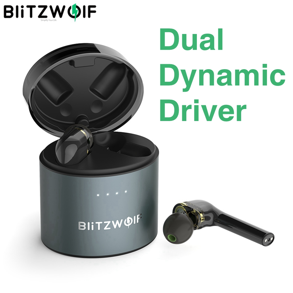 BlitzWolf BW-FYE8 TWS True Wireless Bluetooth 5.0 Earphone Headset Dual Dynamic Driver Hands-free Hifi Earbuds IPX5 Long Handle