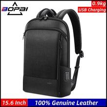 BOPAI Männer Echtes Leder Rucksack 100% Natürliche rindsleder Business Reisetasche Dünne Laptop USB Lade Anti Theft Rucksäcke Schule