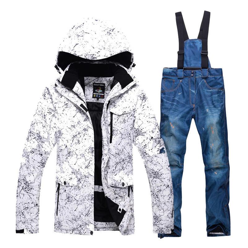 Terno de Neve ao ar Conjuntos de Snowboard Roupas de Esqui Impermeável à Prova de Vento Jaquetas de Neve e Calças °c para Mulheres dos Homens Preto Branco Livre Bib -30 ou