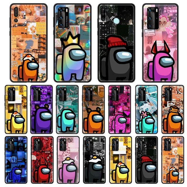 Among Us Cute stars Phone Case For Huawei P30 Lite P40 P20 Pro P10 Lite P Smart 2019 2020 Silicone Fundas Black Cover