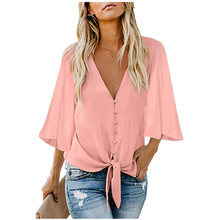 2020 Sexy Women Plus Blouse Batwing Sleeve Tops V Neck T Shirts Casual Office Ladies Shirts 2019 hot sale spring women shirts tops long sleeve bow collar solid ladies chiffon blouse tops ol office style chemise femme