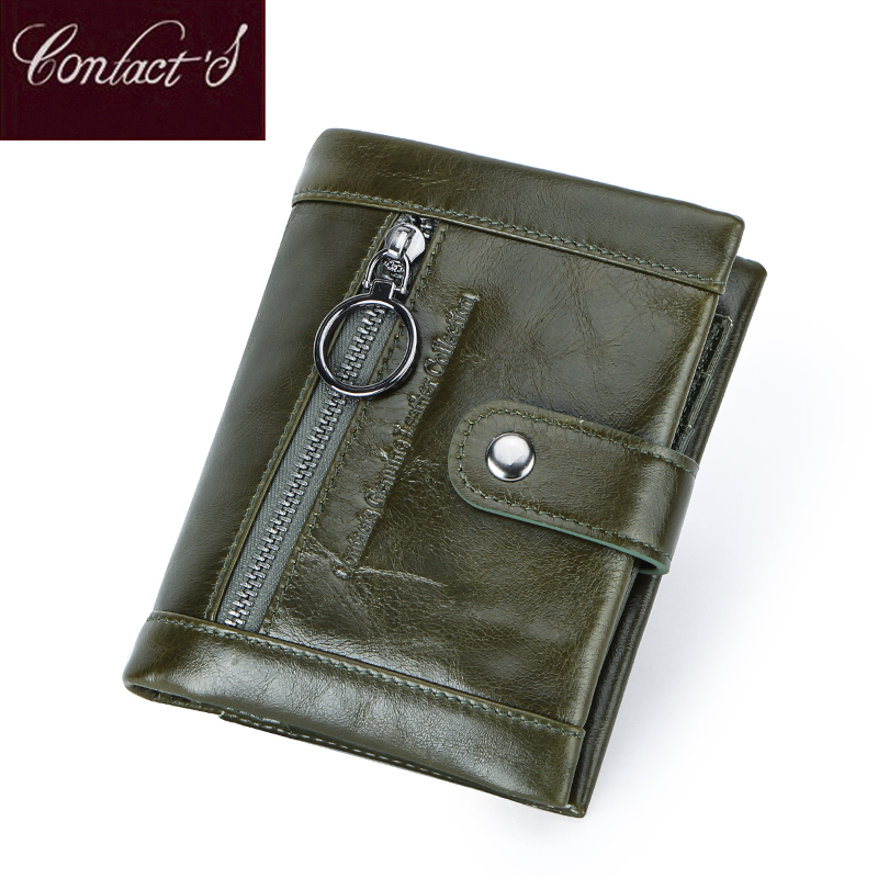 Contact's 2020 New Genuine Leather Wallet Women's Zipper Purse Green Small Femal Coin Pocket Cartera Lady Wallets Portfel Damski