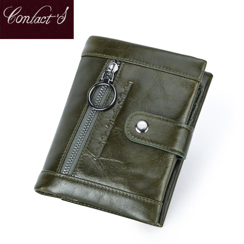 Contact's 2020 New Genuine Leather Wallet Women's Zipper Purse Green Small Femal Coin Pocket Cartera Lady Wallets Portfel Damski