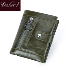 Contact's 2020 New Genuine Leather Wallet Women's Zipper Purse Green Small Femal