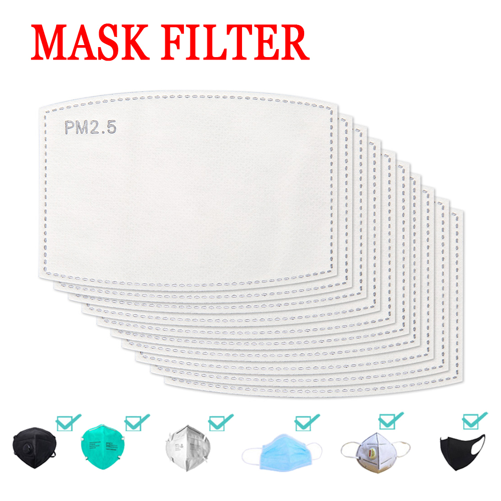 100pcs Disposable Face Masks Replacement Filtering Breathable 5 Layer PM2.5 Mouth Mask Dust Mask Filter For Adult Kid Mascarilla
