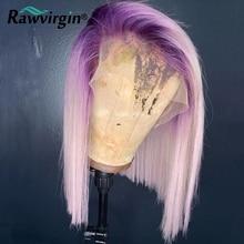 Bob peruca frente do laço perucas de cabelo humano 613 loira rosa/verde bobtransparente perucas do laço preplucked e descorado nós peruca do laço 250%
