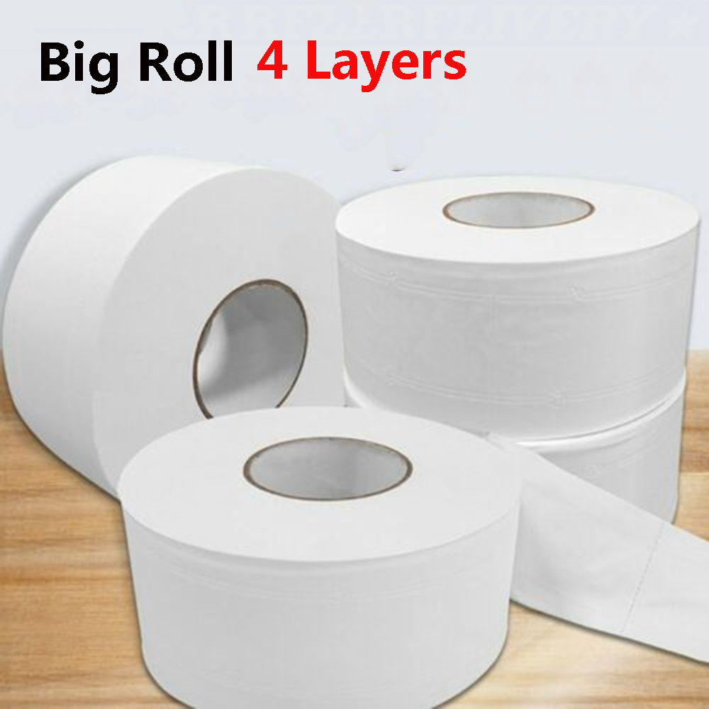 1 Roll Jumbo Roll Large Roll Toilet Paper Bath Tissue 4-layer White Soft Native Wood Pulp Rolling Paper Skin-friendly For Home
