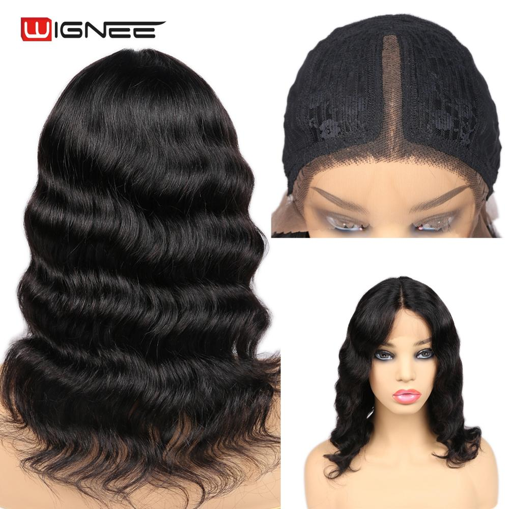 Wignee Lace Part Loose Wave Short Human Hair Wigs For Black Women Brazilian Remy Hair Glueless Middle Part Lace Short Human Wigs