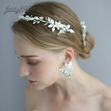 Silver Rhinestone Flower Wedding Bride HairPinss Headband Earrings Women Prom Bridal Hair Accessories Handmade  Headwear