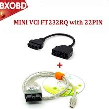 Mini vci tis techstream v14.30.023 minivci ftdi ft232rq para j2534 obd obd2 ferramenta de diagnóstico do varredor carro MINI-VCI cabo