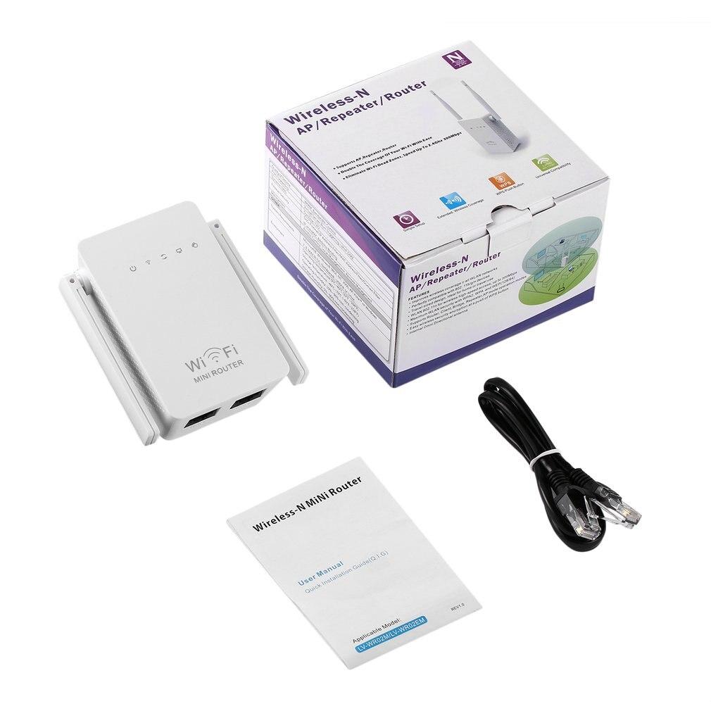 White WiFi Range Extender 300Mbps Wireless-N AP/Repeater/Router Dual Antennas US EU UK Universal Compatibility Mini Size