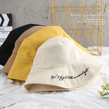 SLECKTON Fashion Fold Bucket Hat for Women Girl Cotton Fisherman Double Letter Embroidery Casual Girls Sun Hats Cap Unisex