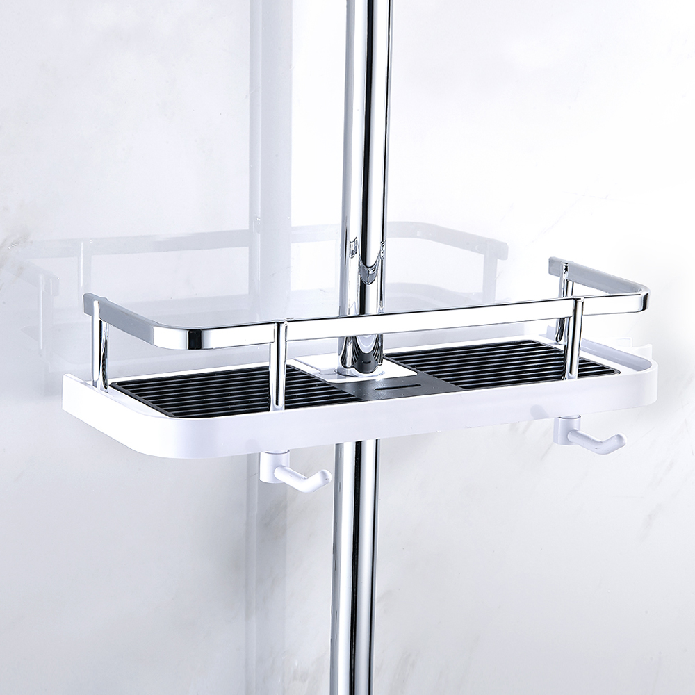 Bathroom Shower Tray Lift Rod Shower Head Bracket Pole Storage Rack Holder Organizer Shampoo Towel Shelf Single Tier Home