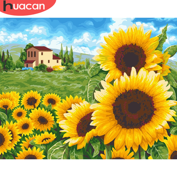 HUACAN Paint By Number Sunflower Drawing On Canvas HandPainted Painting Art Gift DIY Pictures By Number Flower Kits Home Decor