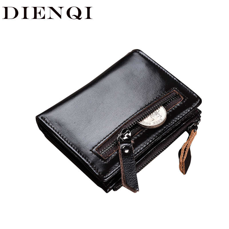 DIENQI Cow Genuine Leather Men Wallets Vintage Luxury Small Smart Wallet Zipper Purses Money Coin Pocket Rfid Blocking Vallet