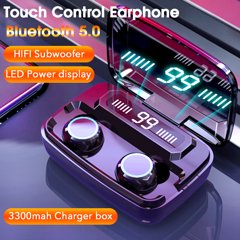 Touch Control Wireless Earphone Bluetooth Stereo Gaming Headset Sport Waterproof Earphones With Microphone LED Charging Box