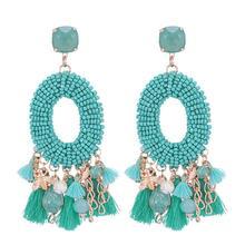 1 Pair Fashion Large Oval Shape Pendant Earrings Handmade Glass Crystal Ear Drop Jewelry Accessories