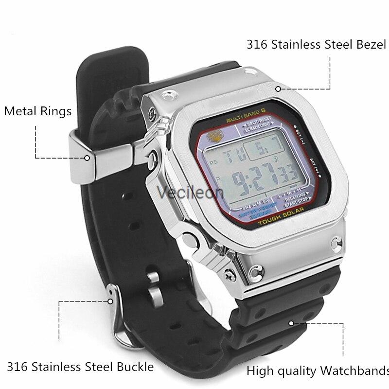 DW-5600 GW5000 DW5035 GMW5610 Original Watch Strap And Case Plus Metal Rings Loops Gold, Sliver Black