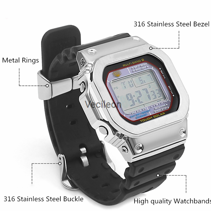DW-5600 GW5000 DW5035 GMW5610 bracelet de montre Original et boîtier Plus anneaux en métal boucles or, argent noir