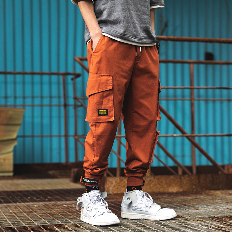Orange Cargo Pants With Pockets Fashion Classic Summer Men's Sweatpants Black Hip Hop Homme Trousers Military Army Joggers