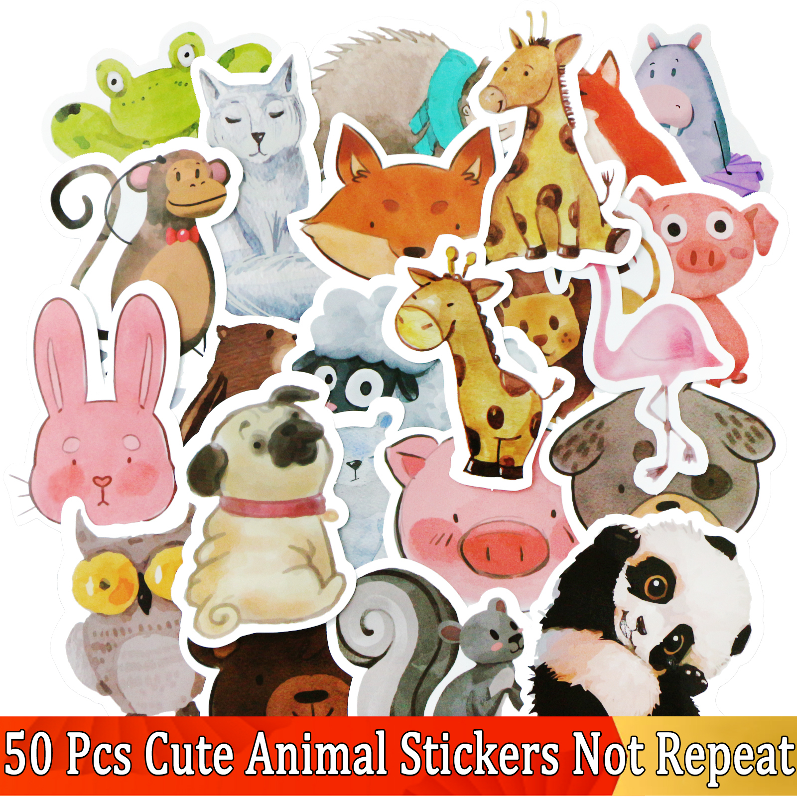 50 PCS JDM Watercolor Animal Sticker Cute Cartoon Educational Toy Stickers Gift For Kids Laptop Suitcase Bicycle Fridge Guitar