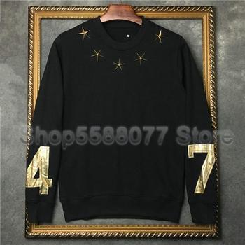 Designer Luxury Brand Mens Classic Long Sleeve Round Neck Metal Gold Star 7 4 Stamp Printing Hoodies Cotton Hoody Sweatshirt