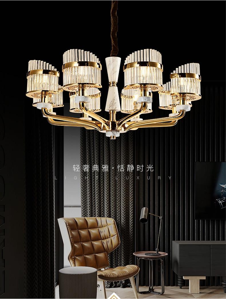 Modern LED luxury Crystal chandelier Zinc alloy pendant lamps French jade living room hanging lights bedroom lighting fixtures
