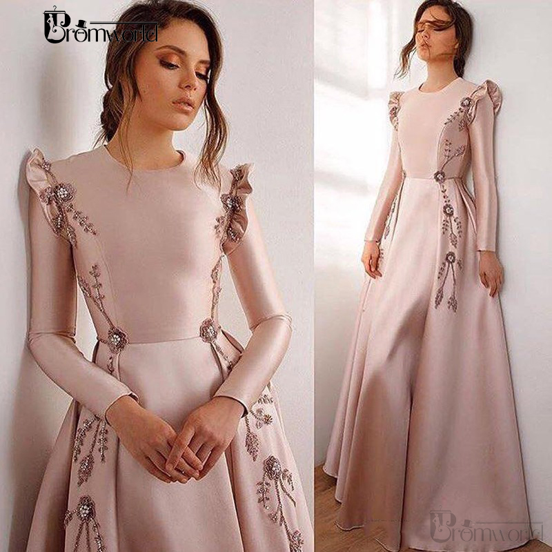 Nude Pink Long Sleeves Fold Bead Evening Dresses Long Pleats Appliques Evening Gown Vestidos De Fiesta De Noche