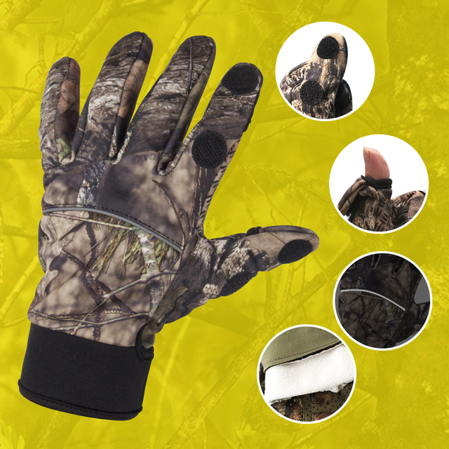 Camouflage Fishing Gloves Hunting Gloves Anti-Slip 2 Fingers Cut Outdoor Camping Cycling Half Finger Sport Gloves Camo 4