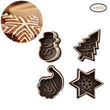 4 pçs cortador de biscoito molde de gravação conjunto natal temático bonito biscoitos cortador pastelaria êmbolo fondant ferramentas decoração