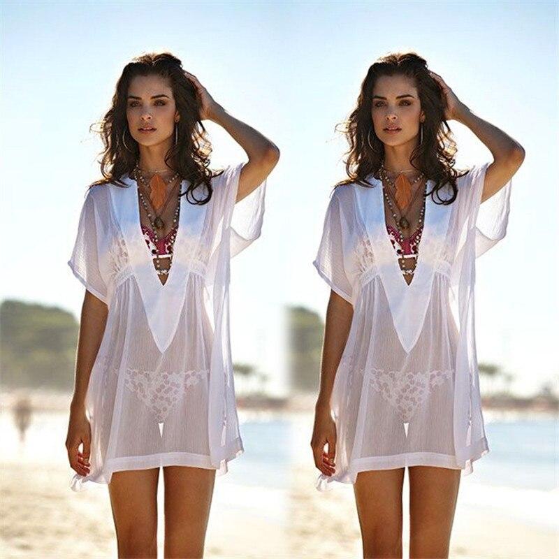 Fashion Women Plus Sexy V-Neck See-through Loose Mini Bikini Cover-up Swimwear
