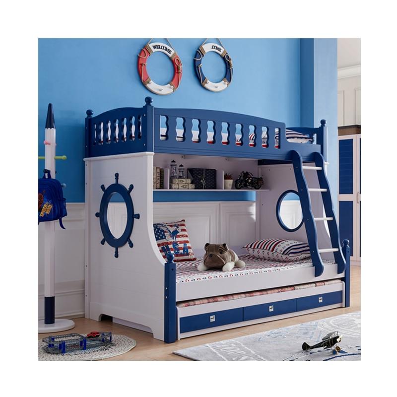 Foshan Modern Oak Wood Bunk Beds Kids Bedroom Furniture Sets For