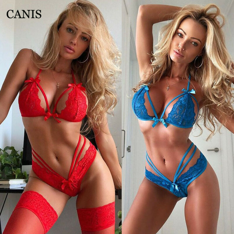 Women Exotic Sets Sexy Lingerie Nightwear Babydoll Brief G-string Panties Underwear Lace Bra Set Floral Lady Sleapwear Blue Red