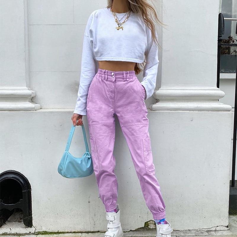 Streetwear Solid Joggers Womens Purple Cargo Pants Women High Waist Pants Fitness Pocket harajuku Capris Baggy Summer