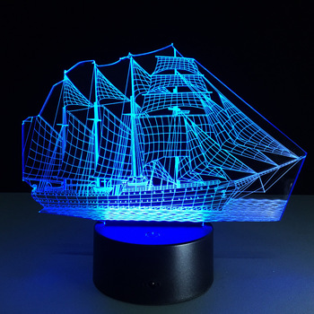 Sail Boat - 3D Optical Illusion Novelty Table Lamp Beautiful Sea Boat Shape 7 Colors Touch Night Light USB wedding decor i love you heart 3d optical illusion mood light 7 colors change luminaria lava lamp kids night light novelty gifts