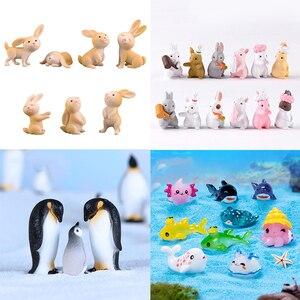 7 Pcs Cute Anime Rabbit Garden Ornament Cute Miniature Figurine Fairy Synthetic Resin Hand-painted Animal Fairy Garden Decor(China)