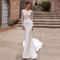 Eightree Boho Wedding Dresses 2020 O Neck Lace Top Mermaid Wedding Dress Backless Bride Dress Turkey Robe de soiree Chapel Train