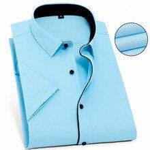 Camisa de manga corta para hombre, camisa masculina de Color puro, de sarga, talla grande 8XL, 7XL, 6XL, 5XL