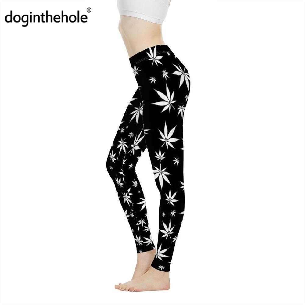 Doginthehole Jamaica Colorful Hemp Leaf Print Women Sexy Fitness Legging Casual Sportwear For Ladies Maple Leaves Elastic Pants