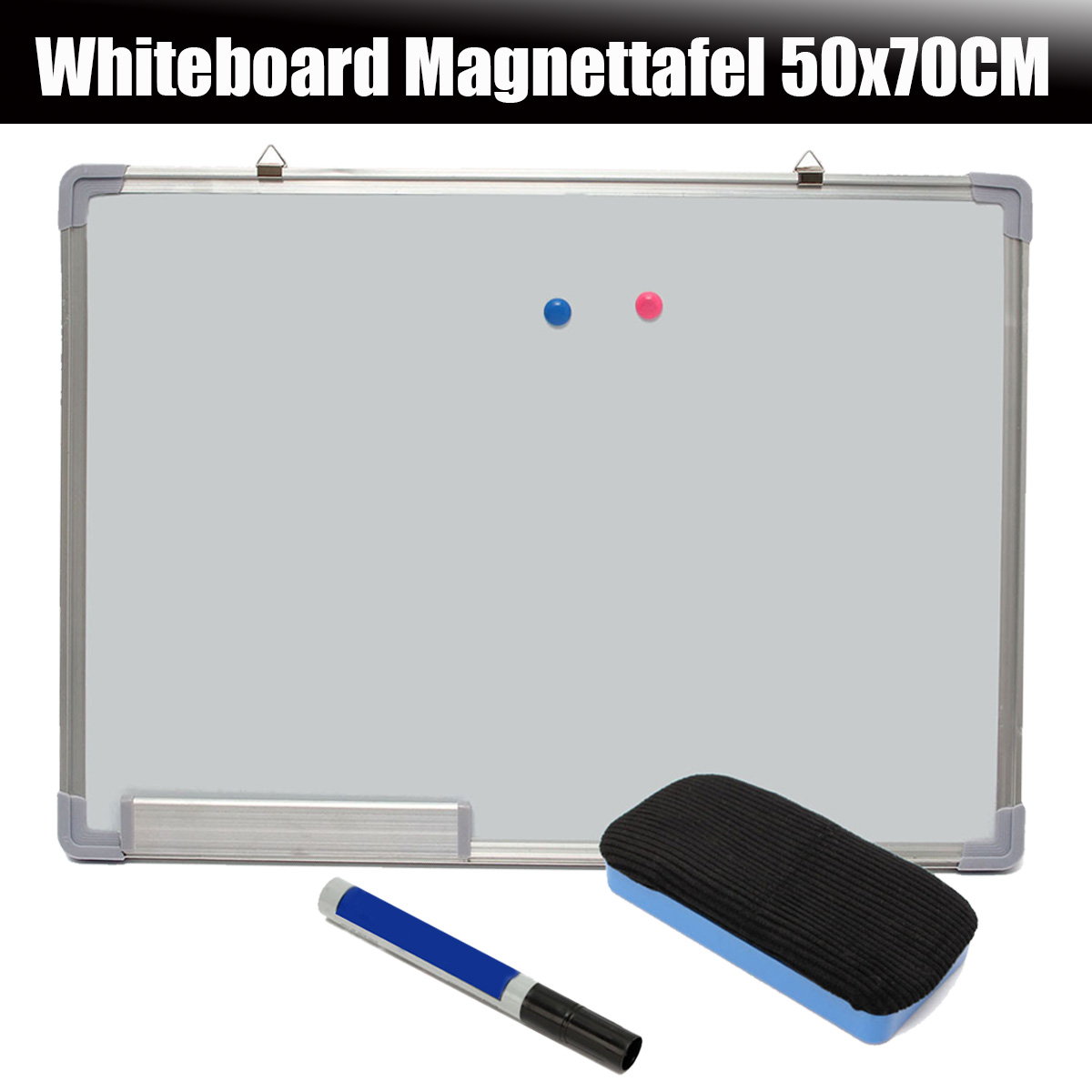 NEW 500x700MM Magnetic Whiteboard Writing Board Double Side With Pen Erase Magnets Buttons For Office School